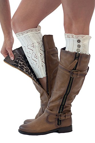 Boot Cuffs Vintage 3 Button Style Women's Boutique Socks Brand by Modern Boho Ivory by Boutique Socks