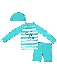 3-Piece Little Girls Boys Long Sleeve Cartoon Swimwear Set UPF50+ Quick Dry