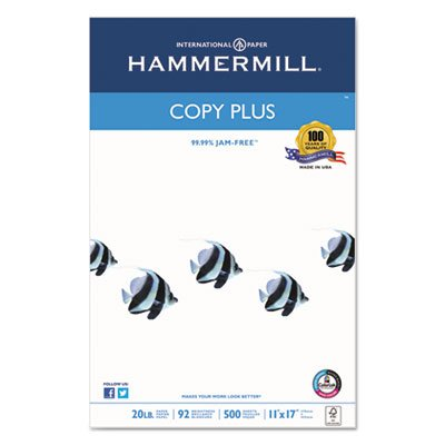 Copy Plus Copy Paper, 92 Brightness, 20lb, 11 x 17, White, 500 Sheets/Ream, Sold as 2 Ream