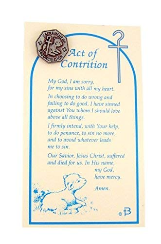 image regarding Act of Contrition Prayer Printable identified as : Reconciliation Pin Pewter Entire with Act of