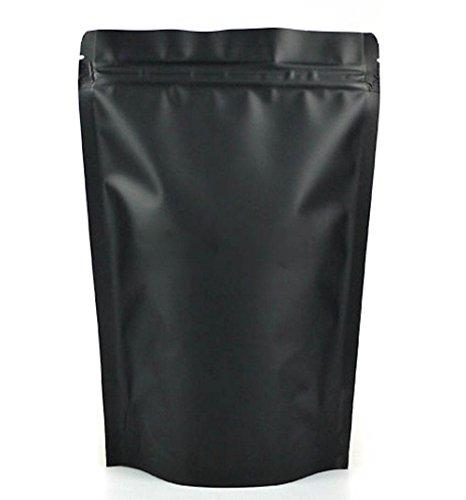 "Matte Black 5"" X 7 ¾"" Aluminum Foil Mylar Stand Up Airtight Zipper Pouches Smell Leak Proof Food Herb Coffee Protein Powder Storage Bags 4 oz (10, 5 X 7 3/4 (13X20 cm))"