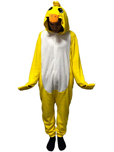 Duck Halloween Costume For Women (Unisex-Adult Costume Animal Cartoon Onesie Pajamas Loungewear Yellow)