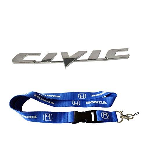 New 1pcs Honda Keychain Lanyard Badge Holder + New Silver Honda Civic Chrome Trunk Logo Emblem Decal Chrome Trunk Emblem