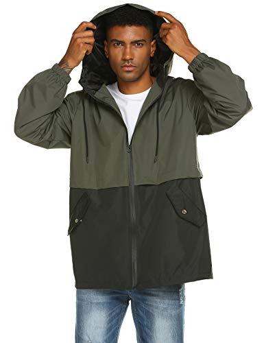 Men's Waterproof Windproof Jacket with Hood Casual Outdoor Raincoat Sportswear Army Green XL