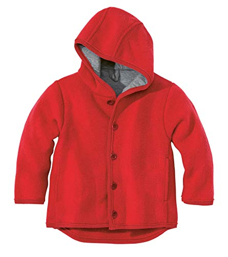 (Disana 100% Merino Boiled Wool Jacket boy Girl Baby Children Hood Buttons Coat (74/80 (6-12m), Red))