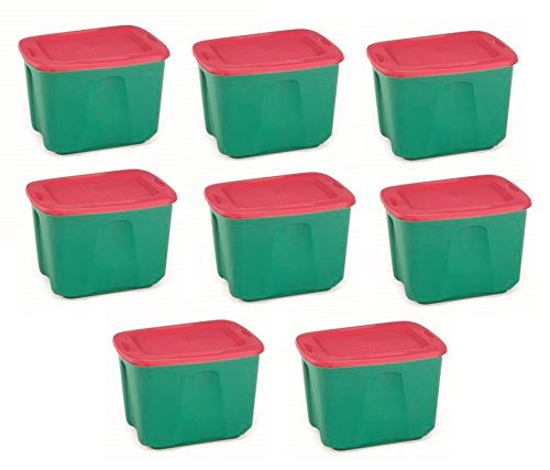 Homz Holiday Plastic Storage Tote Box 18 Gallon Green With Red Lid Stackable 8 Pack Home