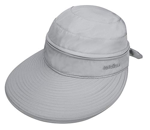 EPGW Women's Solid Color Visor Beach Hat for Sun Protection in Summer, Grey