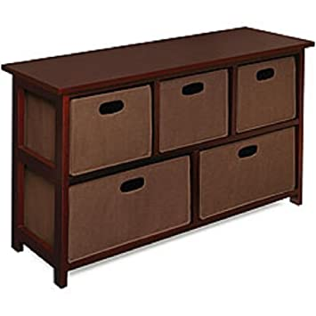 Good Wooden Cherry Storage Cabinet With 5 Baskets: This Attractive Design Storage  Unit Would Be Nice