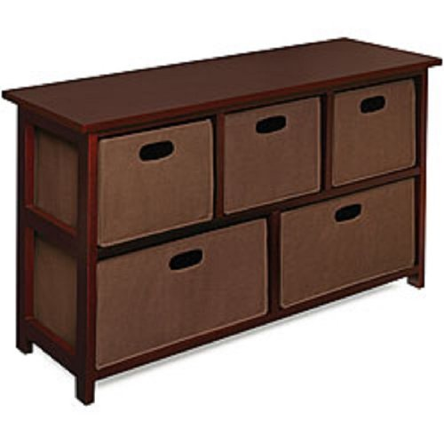 Wooden Cherry Storage Cabinet with 5 Baskets: This Attractive Design Storage Unit Would Be Nice For A Entryway, Bedroom, Family Room Or Any Place In Your Home..