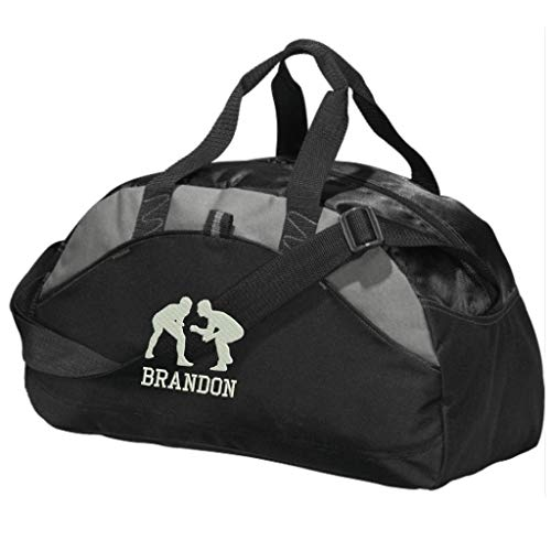 Personalized Wrestling Team Duffel Gym Bag - Embroidered (Black) ()