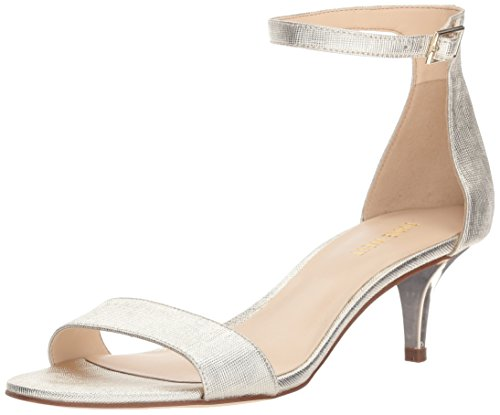 Nine West Women's Leisa Synthetic Heeled Sandal, Gold, 10.5 M US