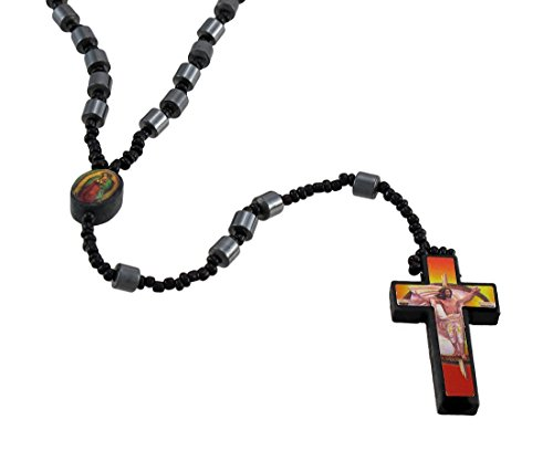Focal Barrel (Things2die4 Metal Rosary Beads Hematite Barrel Beaded Rosary Printed Graphic Cross Red Black)