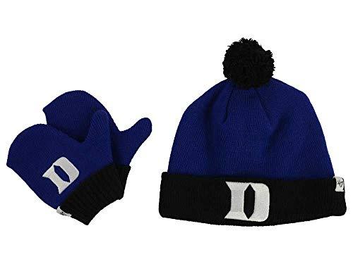'47 Duke Blue Devils Infant/Toddler Bam Bam Beanie Hat POM and Glove Gift Combo - NCAA Baby Knit Cap/Mittens