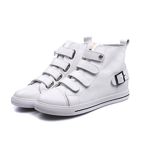Shenn Femme Cheville Haute Boucle Classics Cuir Baskets Chaussures Blanc UtOpY