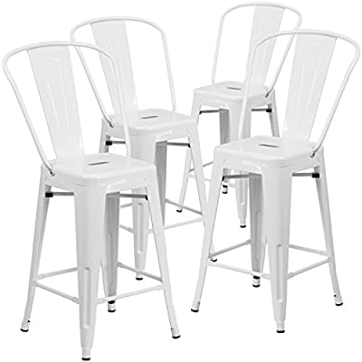 Flash Furniture 4 Pk. 24'' High White Metal Indoor-Outdoor Counter Height Stool with Back - Set of 4 Bistro Style Counter Stools Curved Back with Vertical Slat Seat Drain Hole assists in drying - patio-furniture, patio-chairs, patio - 41IXtEun06L. SS400  -