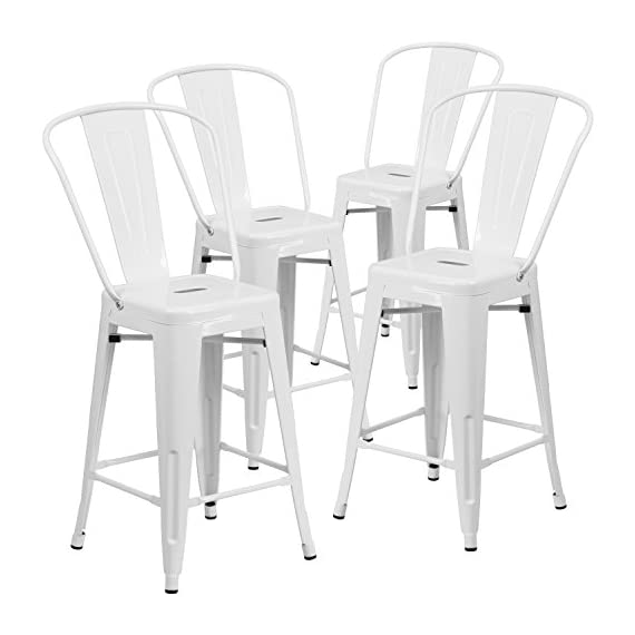 Flash Furniture 4 Pk. 24'' High White Metal Indoor-Outdoor Counter Height Stool with Back - Set of 4 Bistro Style Counter Stools Curved Back with Vertical Slat Seat Drain Hole assists in drying - patio-furniture, patio-chairs, patio - 41IXtEun06L. SS570  -