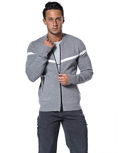 ninovino Men's Casual Slim Fit Knitted Cardigan Zipper Sweater Coat with Pockets Gray S