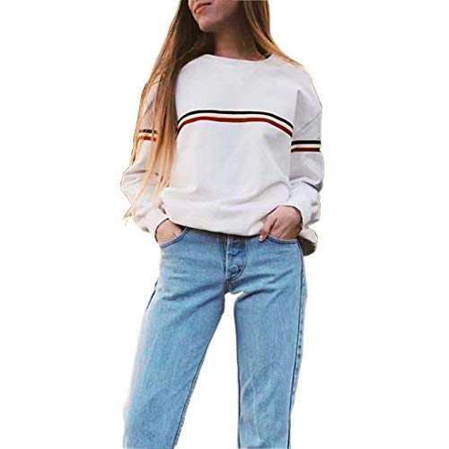 66704e87af7 Germinate Huang Crewneck Sweatshirts Women Cute White Pullover Sweaters  Teen Girls Plus Size Oversized (White