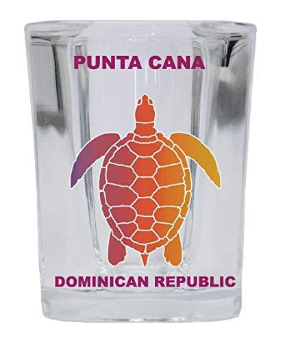 (Punta Cana Dominican Republic Souvenir Rainbow Turtle Design Square Shot Glass)
