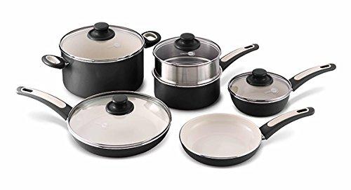 GreenPan Focus 10pc Ceramic Non-Stick Cookware Set, Black