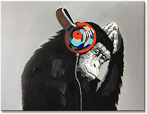 Yihui Arts Handmade Listen Music Funny Animal Monkey with Earphone Canvas Wall Art Paintings with Stretched Ready for Hang 36Wx48L