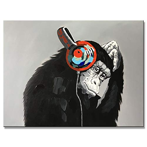 Yihui Arts Handmade Listen Music Funny Animal Monkey with Earphone Canvas Wall Art Paintings with Stretched Ready for Hang (36Wx48L)