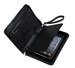 Genuine Leather Padfolio with Wrist Strap, for iPad Mini 4 and Small Notepad, Black