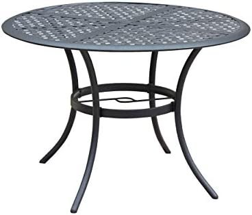 Black LOKATSE HOME 42.1 Outdoor Patio Bistro Metal Wrought Iron Round Dining Table with Umbrella Hole
