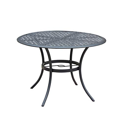 LOKATSE HOME 42.1'' Outdoor Patio Bistro Metal Wrought Iron Round Dining Table with Umbrella Hole, Black (Table Patio Round 30 Metal)