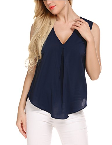 Zeagoo Women's Chiffon Blouse V Neck Sleeveless Solid Loose Casual Tank Tops Blue M
