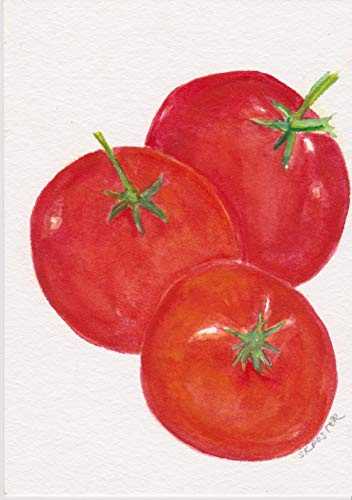 - Original Tomato Painting, watercolors paintings, small tomato Painting, food kitchen wall art, kitchen decor 5 x 7 watercolor painting - hand painted, one of a kind