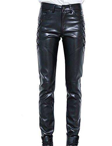 Mens Black Leather Pants - 5