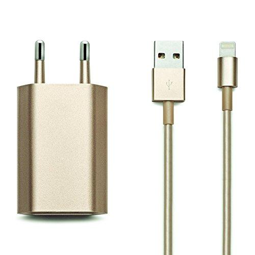 Original iProtect Set 2en1 : câble USB de charge + adaptateur pour 5 5s 5c SE, iPhone 6 6 Plus 6s 6s Plus, iPhone 7 7 Plus, iPhone 8 8 Plus, iPhone X, iPad en doré