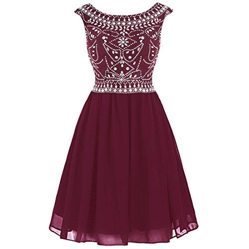 Wedtrend Women's Chiffon Beading Homecoming Dress Short V-back Cocktail Dress (Knee Length Homecoming Dresses)