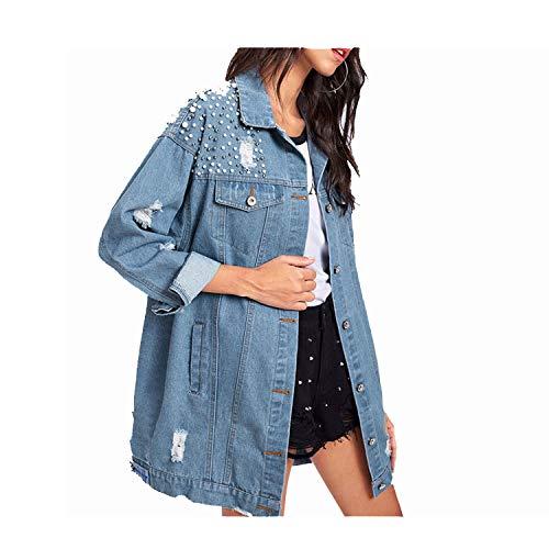 JunXian coats Pearl Beaded Detail Ripped Denim Jacket Spring Single Breasted Women Collar Casual Plain Jacket,Blue,M