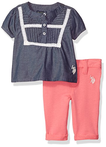 Mix Match Clothes (U.S. Polo Assn. Baby Girls' Fashion Top and Pant Set, Blue/Blue, 6/9 Months)