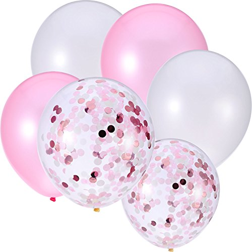 30 Pieces 12 Inches Latex Balloons Confetti Balloons for Wedding Birthday Party Decoration (White and Pink) ()