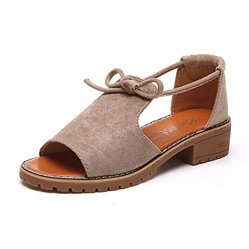 WKDYBD Women's Summer Roman Sandals Lace Up Wedge Holiday Sandals Shoes Khaki