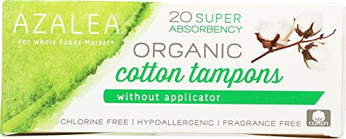Azalea, Organic Cotton Tampons without Applicator, Super, 20 Count 41IXwOXGU2L
