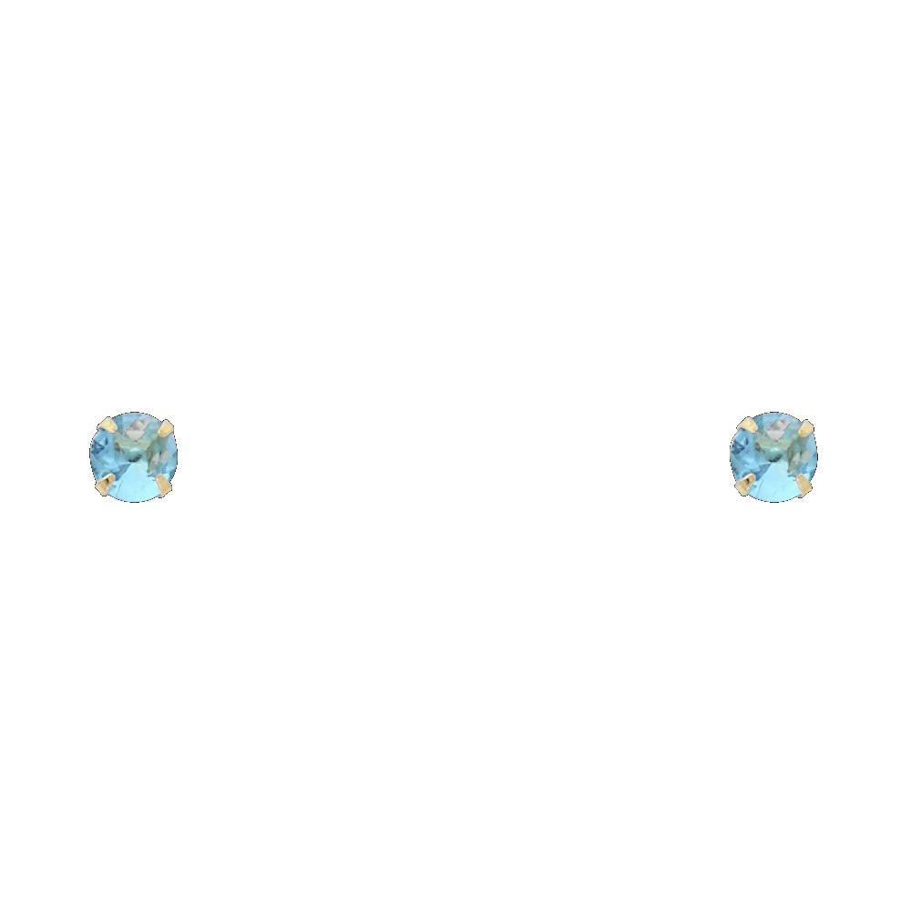 Jewels By Lux 14K Yellow Gold 2-6mm Round Simulated Birthstone Cubic Zirconia CZ Stamping Prong Screw Back Womens Stud Earrings