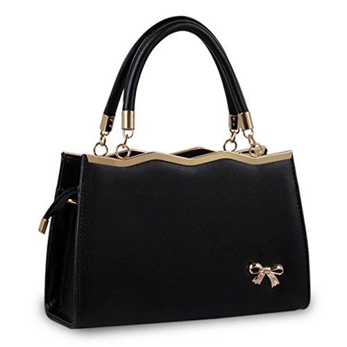 2016 new Korean Stylish Soft leather bag lady's Backpack – Black - 4