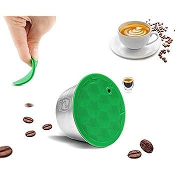 Romote 4 Filtros Piezas Reutilizable Nespresso c/ápsulas Recargable de caf/é de la c/ápsula con el Cepillo de cucharita de caf/é Negro