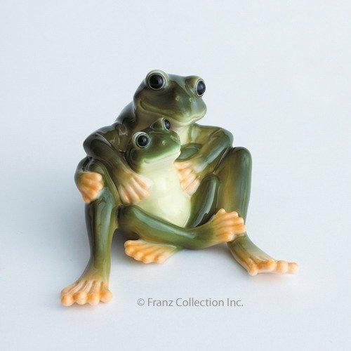 Franz Porcelain Amphibia frog mother & daughter figurine Franz Fine Porcelain