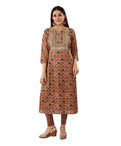 Areum Maroon Chanderi Silk Machine Embroidered Tikki Work Kurti Kurta for Women