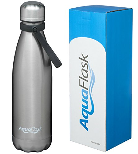 AquaFlask Insulated Double Wall Stainless Steel Water Bottle with Handle (Glossy Stainless Steel, 16-Ounce)