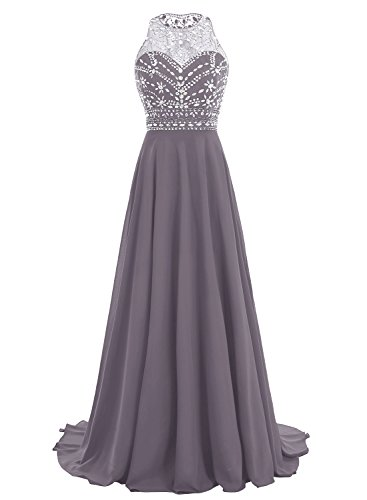 Bbonlinedress Women Long Chiffon Beadings Scoop Prom Party Dresses Evening Gown Grey 10 by Bbonlinedress