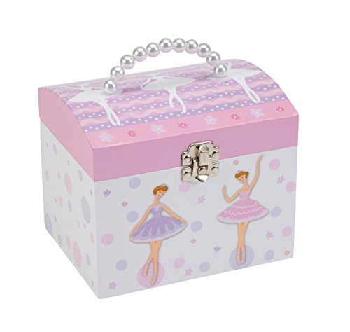 Chest Toy Music Box (JewelKeeper White and Purple Ballerina Musical Jewelry Box with Pearl Handle and Removable Insert, Girl's Jewelry Storage Chest, Swan Lake Tune)