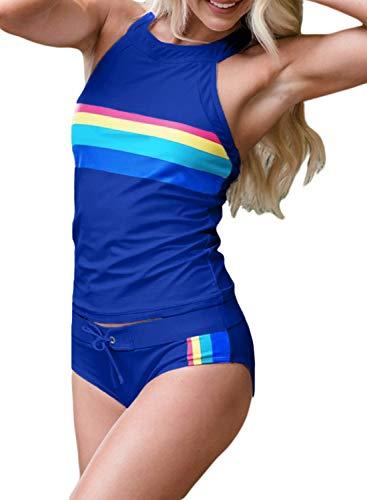 Blibea Womens Push up Bathing Suits Halter Neck Striped Sporty Tankini with Shorts 2 Piece Swimsuits Swimwear X-Large Blue