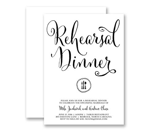 - Black & White Rehearsal Dinner Invitations Wedding Party Classic Modern Elegant Calligraphy Customized Invites - Mila style