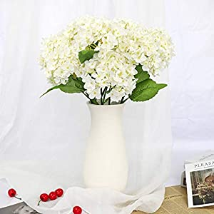 123 TEST 4PCS Artificial Flowers Plastic Silk Artificial Fake Hydrangea Flowers Silk Bouquet for Wedding, Room,Home, Hotel,Party,Office, Garden Craft Art Decoration (White) 2
